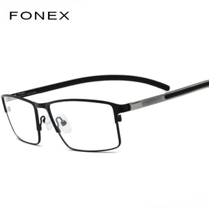 Titanium Alloy Optical Glasses Frame Men Ultralight Square Myopia Prescription Eyeglasses 2019 Male Metal Full Screwless Eyewear