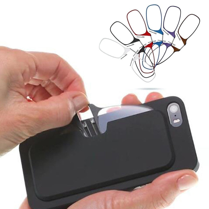 Mini Nose Clip Portable SOS Reading Glasses with Phone Stands Glasses Case Mini Wallet Pince Nez Optics