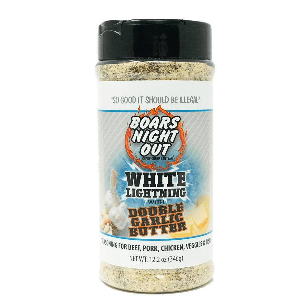 Boars Night Out White Lightning with Double Garlic Butter, 12.2 oz shaker
