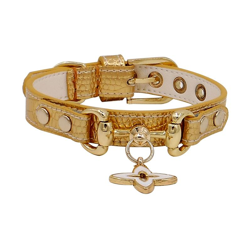 Gold Handmade Leather Pet Collar - LittleCutiePaws
