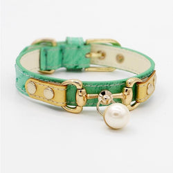 Handmade Jade Green Leather Pet Collar - LittleCutiePaws