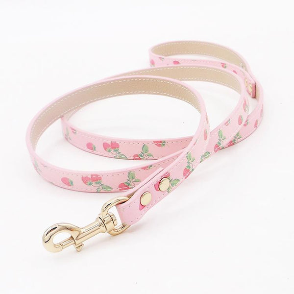 Leather pet leash strawberry pattern - LittleCutiePaws