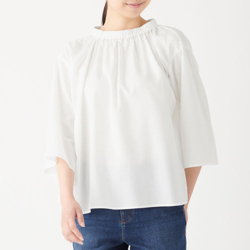 Cotton Lyocell Gathered Neck Blouse