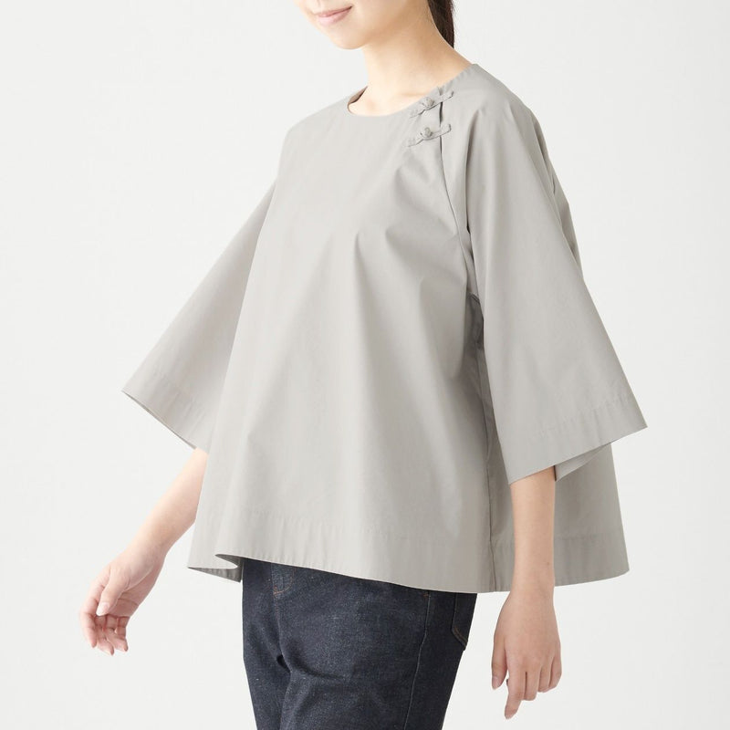 Knot Button Crew Neck Blouse