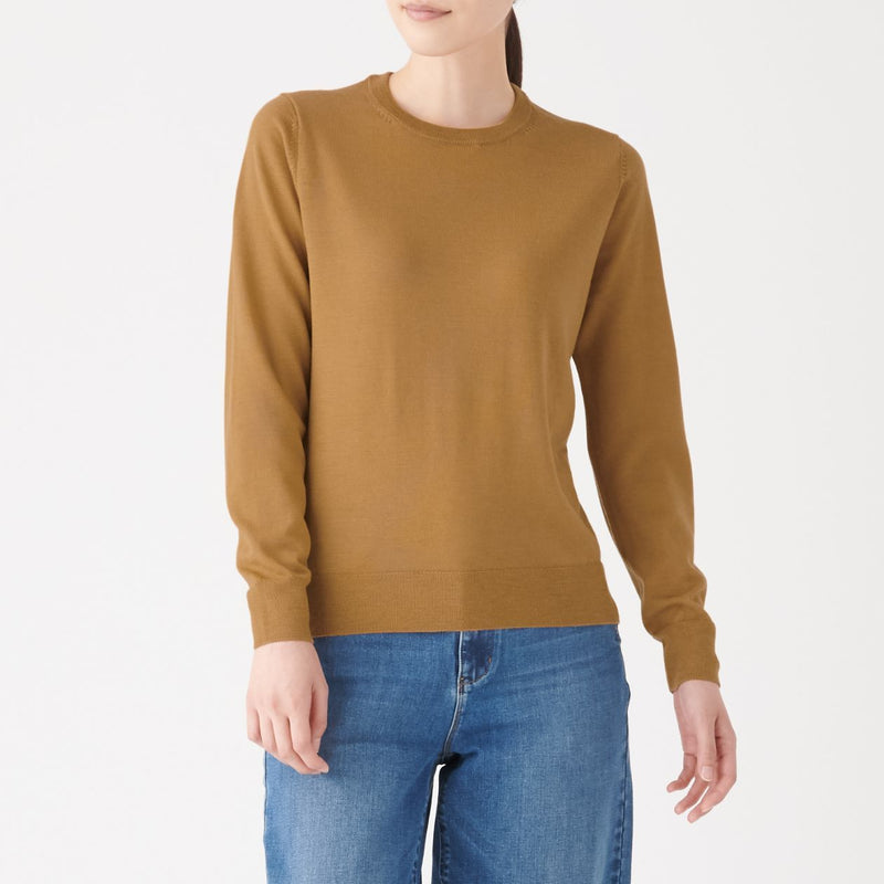 Wool Silk Washable Crew Neck Sweater