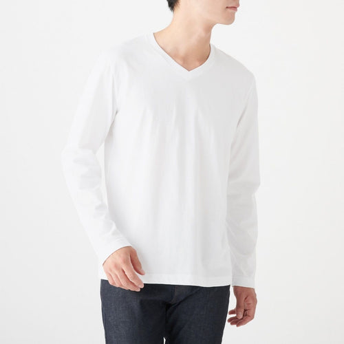 Indian Cotton Jersey Stitch V Neck Mens Long Sleeve T Shirt