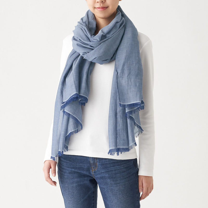 Indian Cotton Large Stole (Chambray)