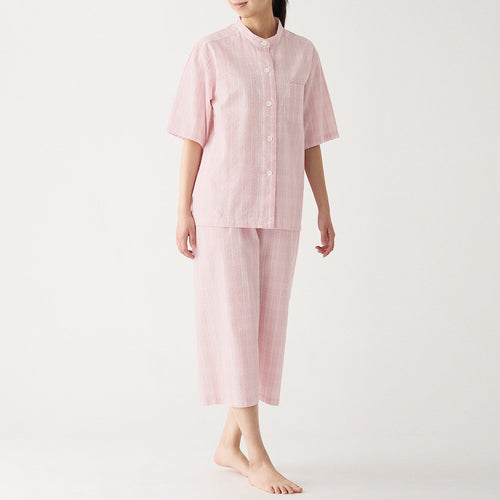 Womens Side Seamless Seersucker S/S Pajama (Cropped Pants)