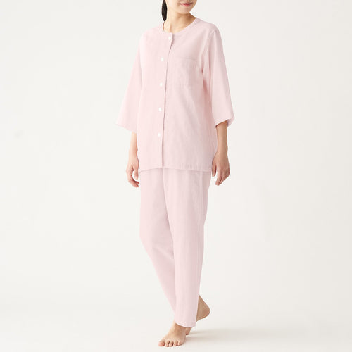 Womens Side Seamless Double Gauze 3/4 Sleeve Pajama
