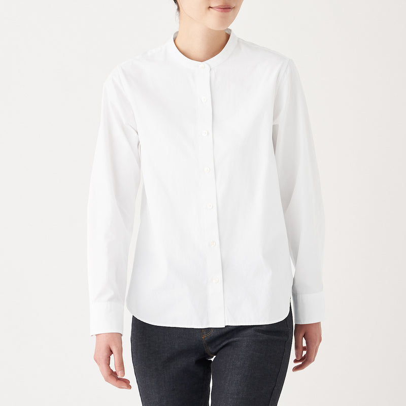 Extra Long Cotton Washed Broad Stand Collar Shirt