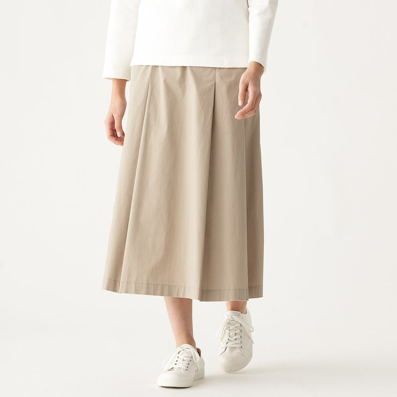 Stretch Densely Woven Tuck Skirt