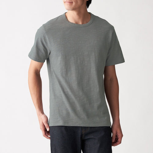 Slub Jersey Stitch Crew Neck Short Sleeve T-Shirt