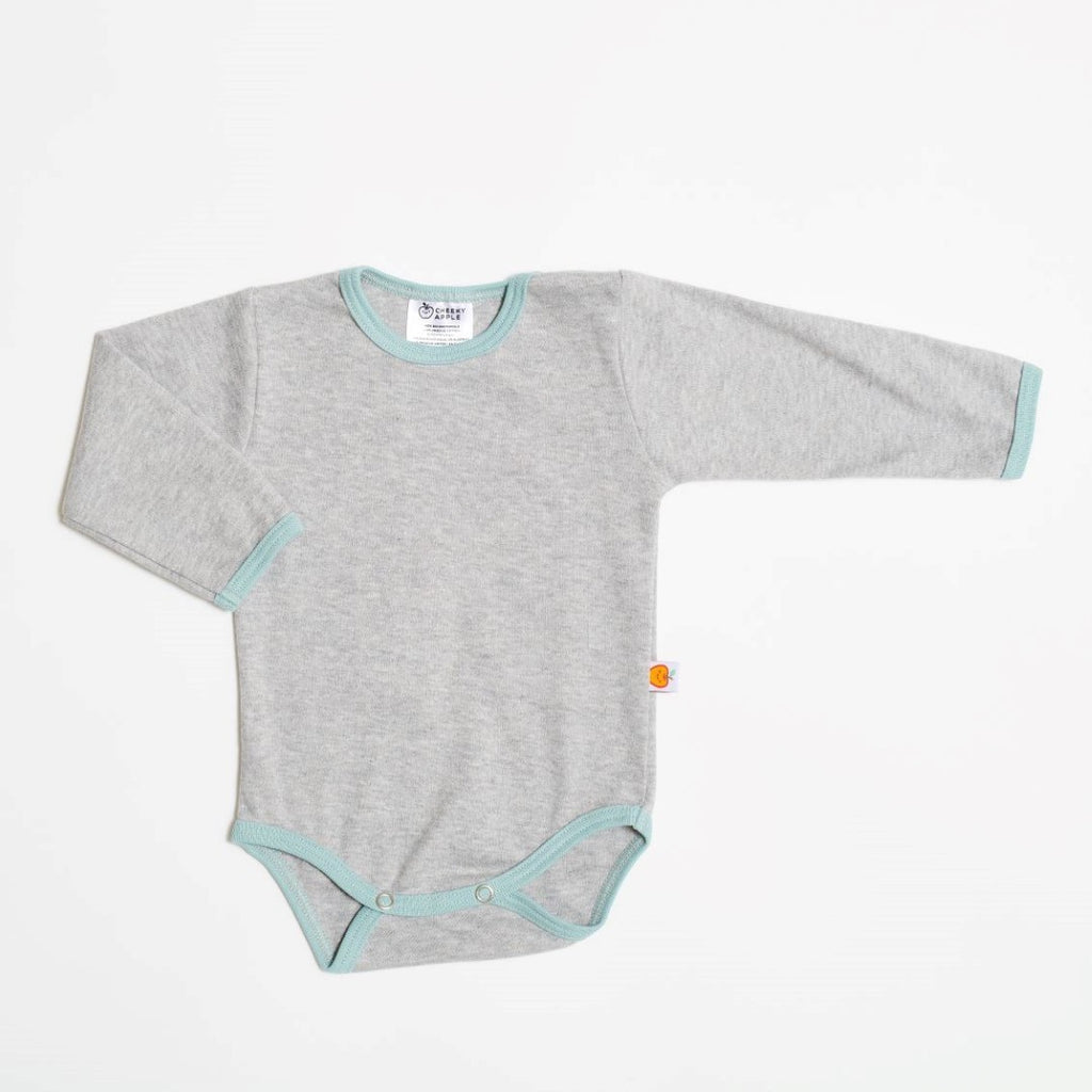 "Long-sleeve baby body ""Interlock grey/Stone blue"""