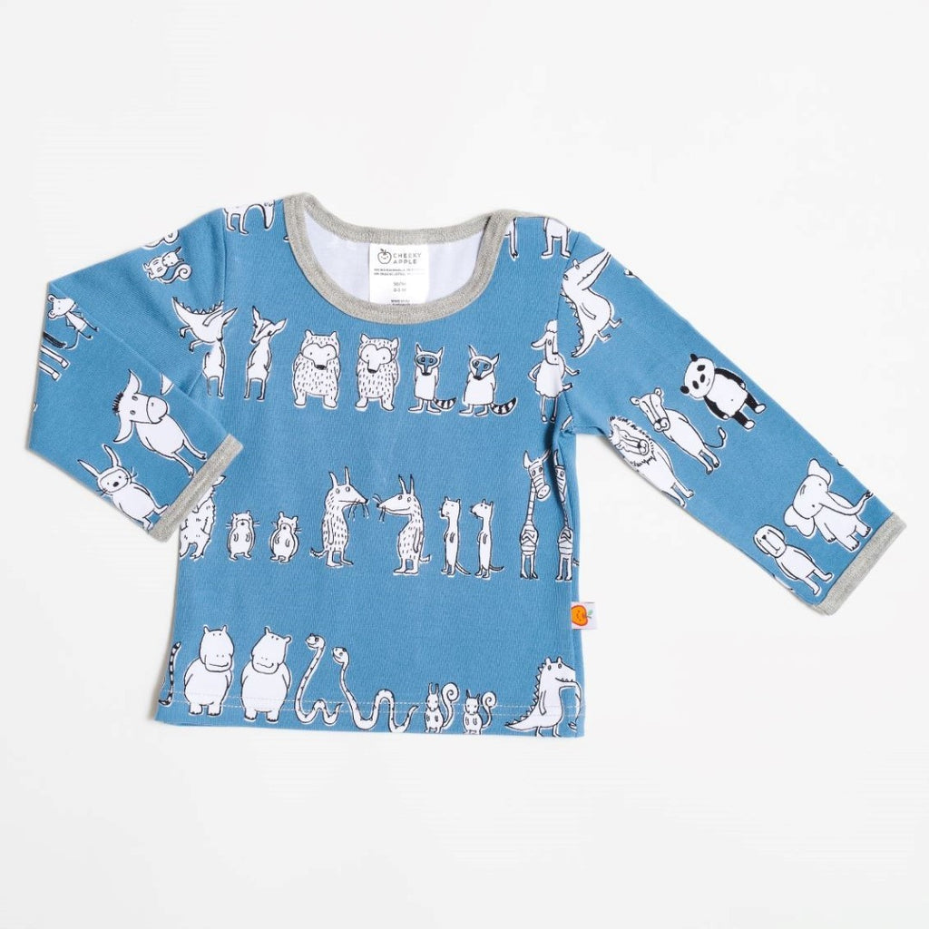 "Long sleeve baby top ""Two&two/Stone blue"""