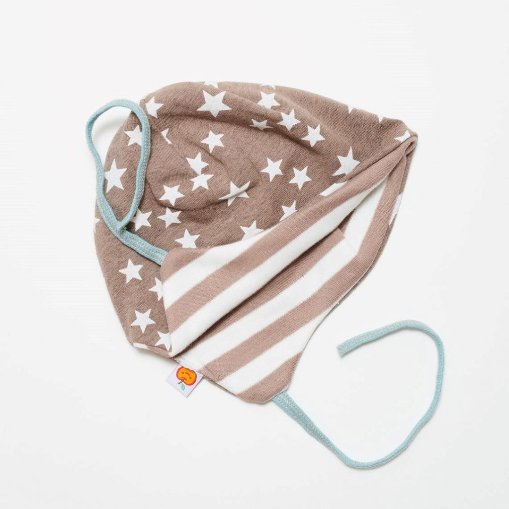 "Lined baby hat with ear flaps ""Stars taupe/Brown-white stripes"""