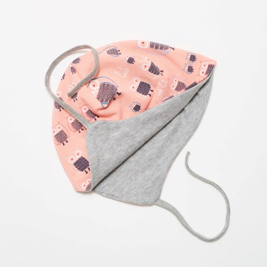 "Lined baby hat with earflaps ""Sweat family owl pink/Grey"""