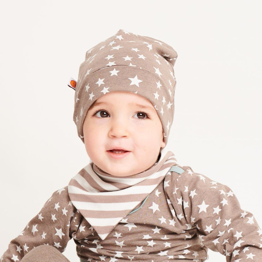 "Dribble bib ""Stars taupe/Brown-white stripes"""