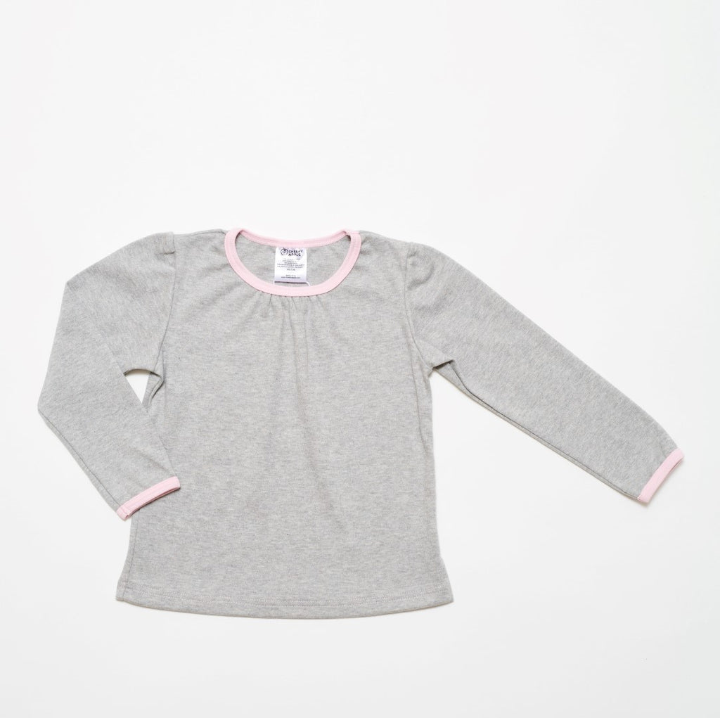 "Long-sleeve top ""Interlock grey/Baby pink"""