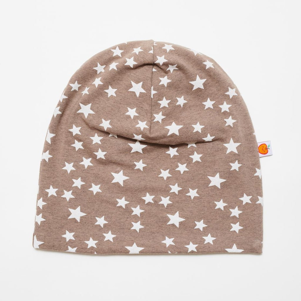 "Beanie ""Stars taupe/Brown-white stripes"" - Cheeky Apple"