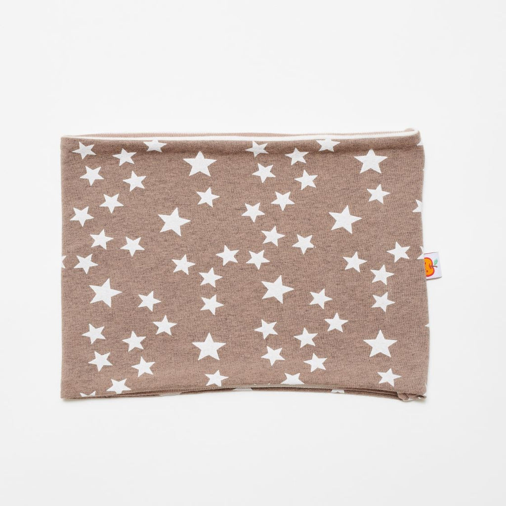 "Neck warmer ""Stars taupe/Brown-white stripes"""
