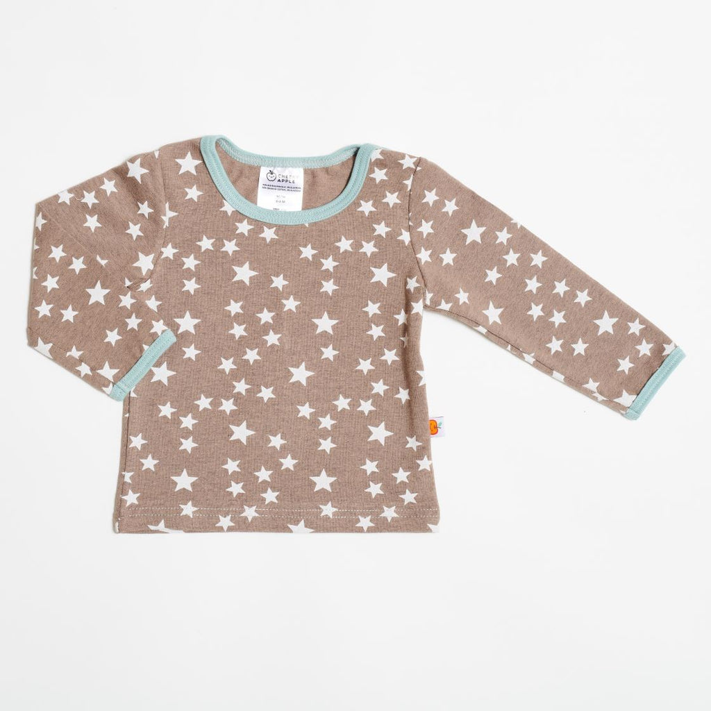 "Long sleeve baby top ""Stars taupe"""