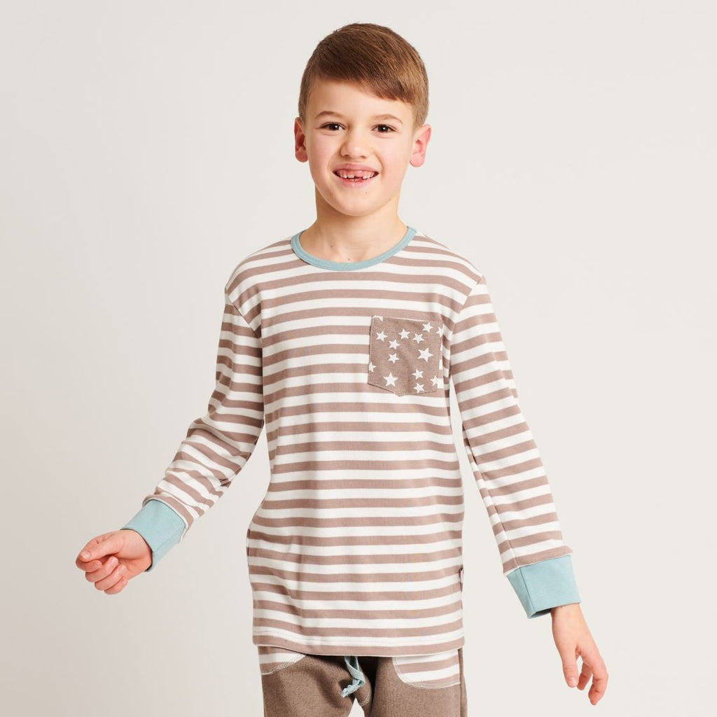 "Longsleeve Top ""Interlock brown-white stripes/Stars taupe"""