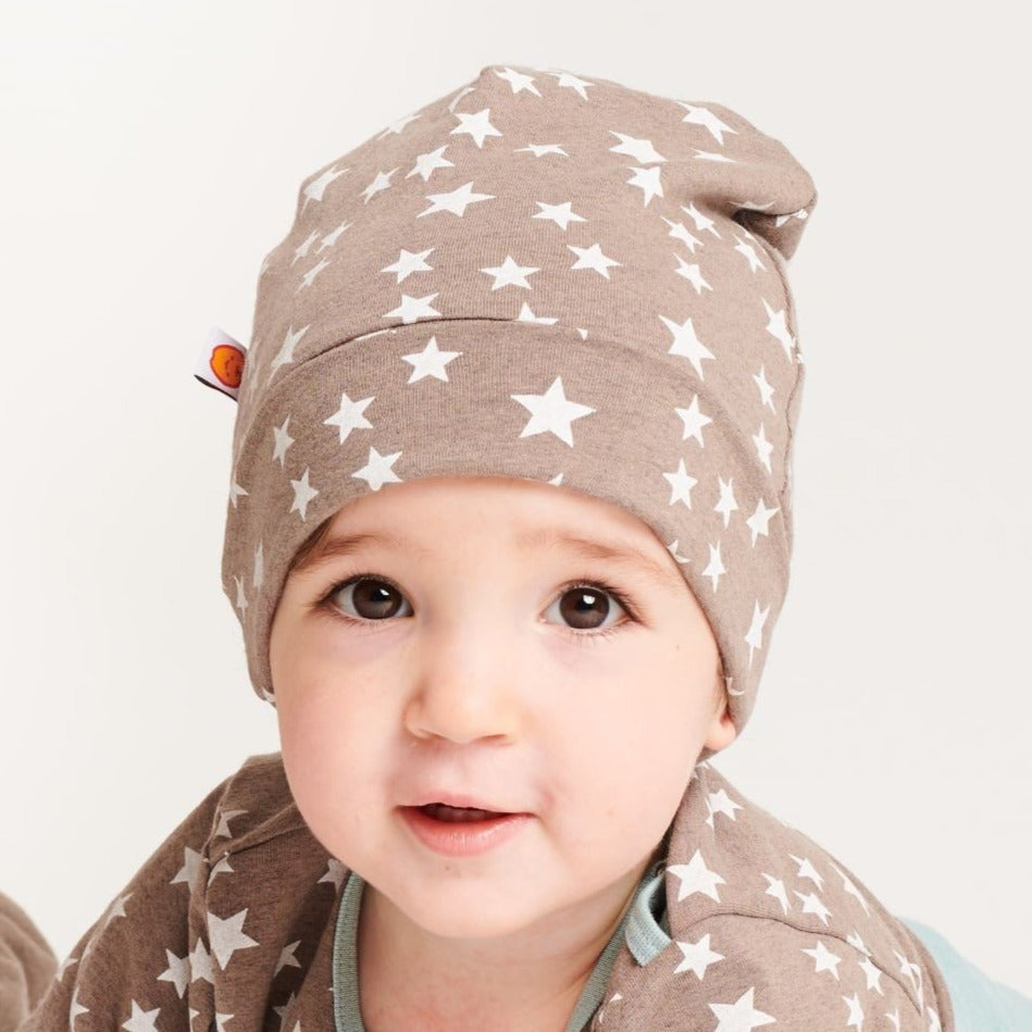 "Lined baby hat ""Stars taupe/Brown-white stripes"" - Cheeky Apple"
