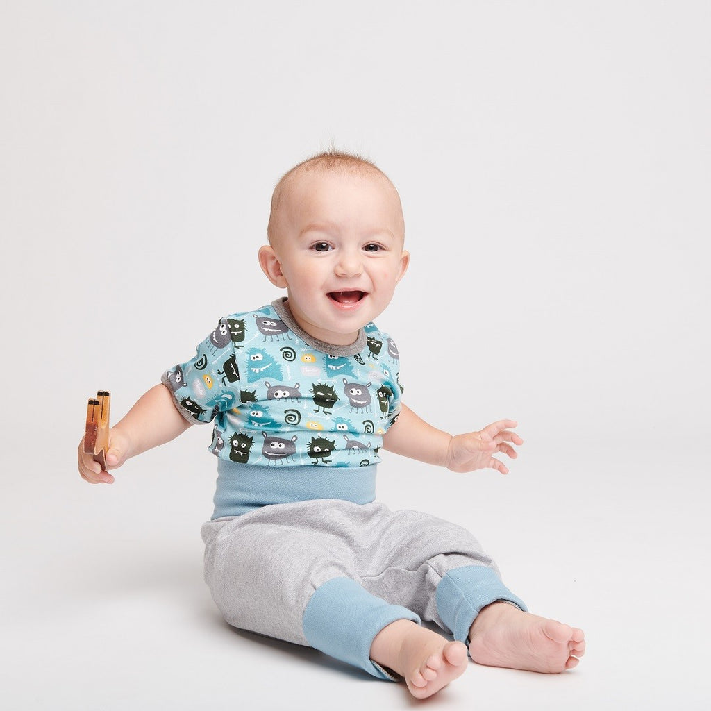 "Baby pants ""Grey/Stone blue"" - Cheeky Apple"