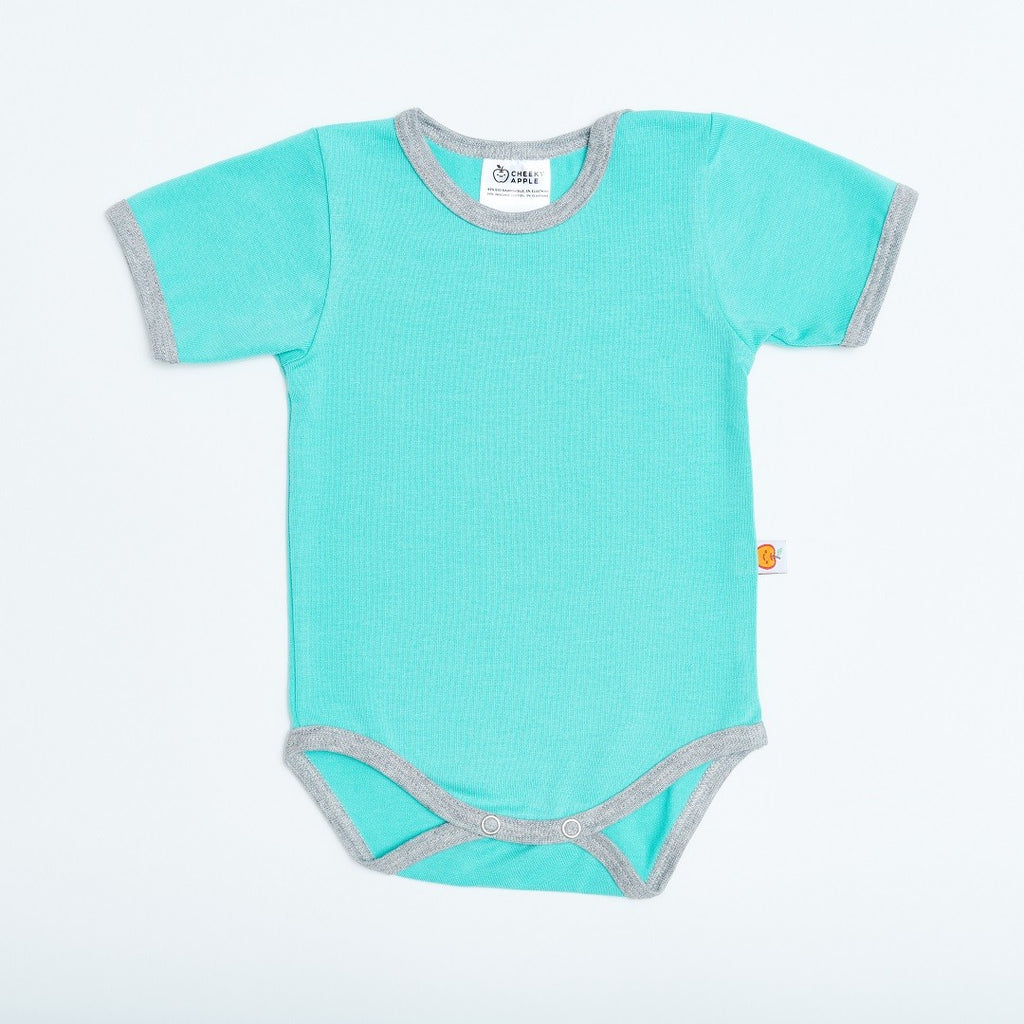 "Short-sleeve baby body ""Mint/Grey"""