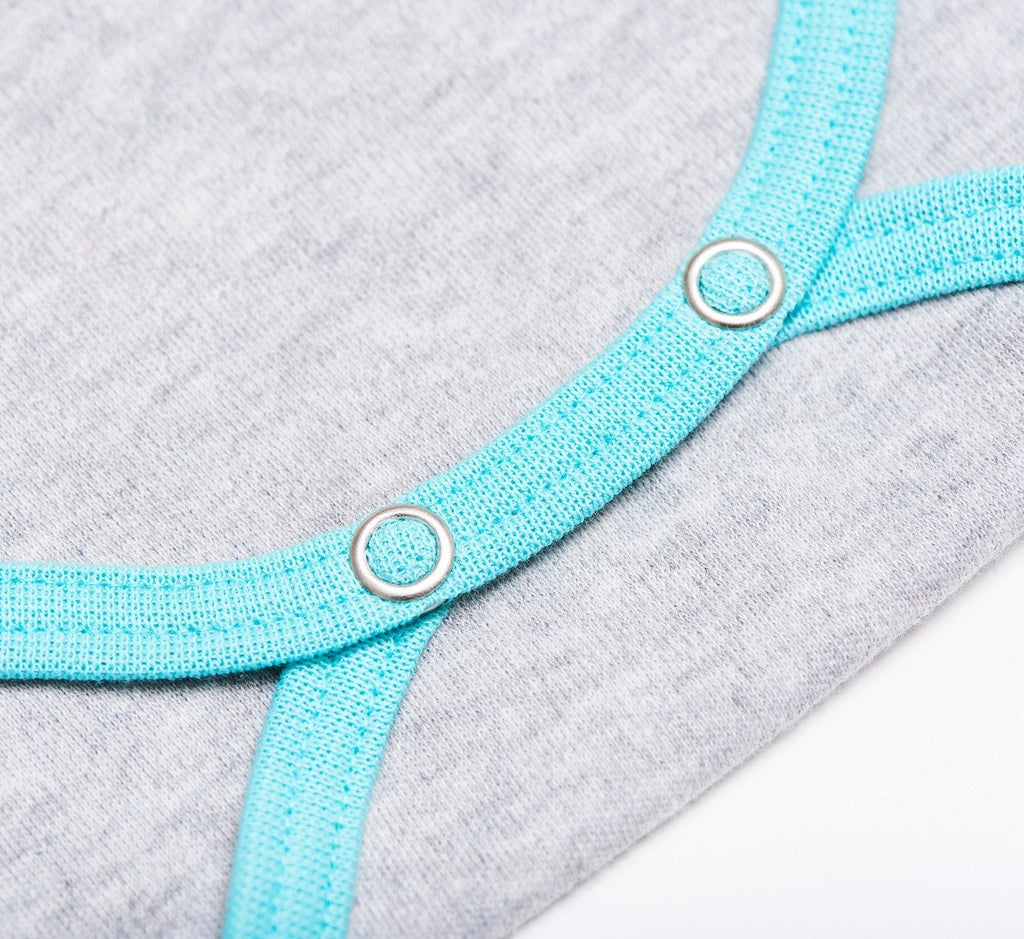 "Short-sleeve baby body ""Grey/Mint"""