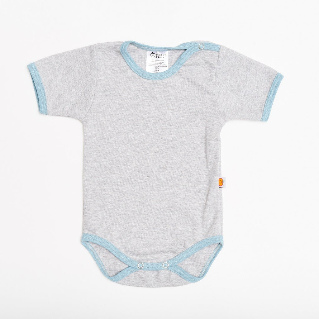 "Short-sleeve baby body ""Grey/Stone blue"""