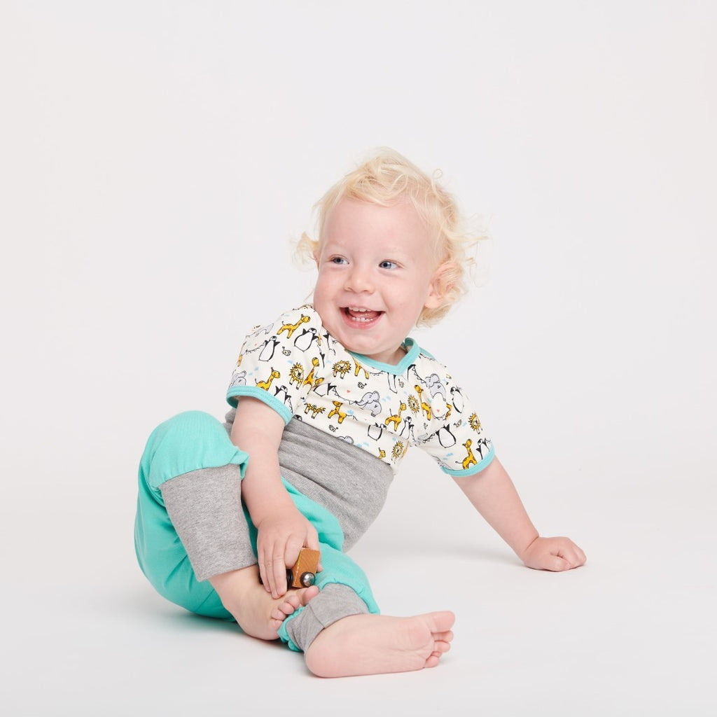"Short-sleeve baby body ""Lovely Zoo/Mint"""