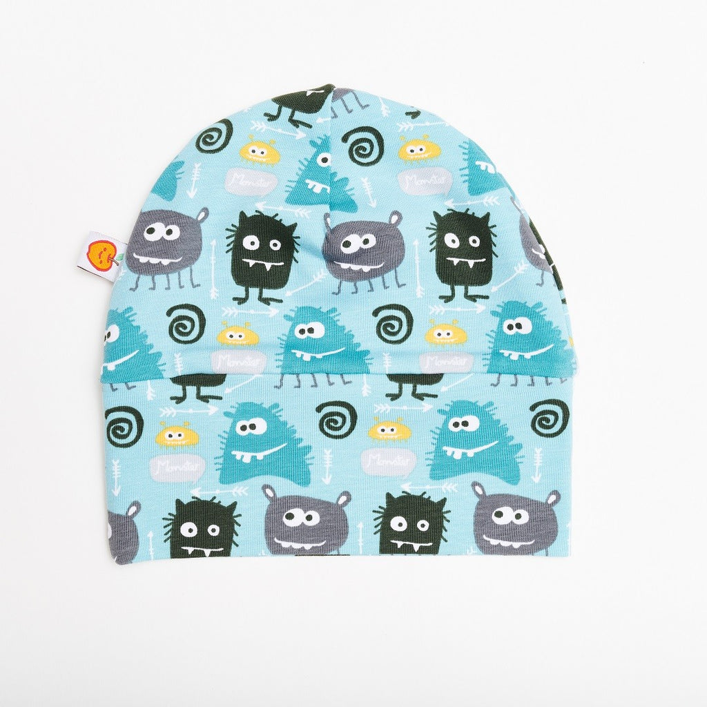 "Lined baby hat ""Monsters/Grey"" - Cheeky Apple"