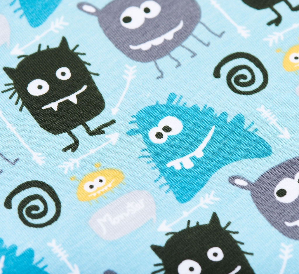 "Short-sleeve baby body ""Monsters/Grey"""
