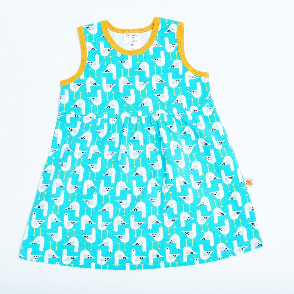 "Sleeveless dress ""Seagull türkis/Senf"""