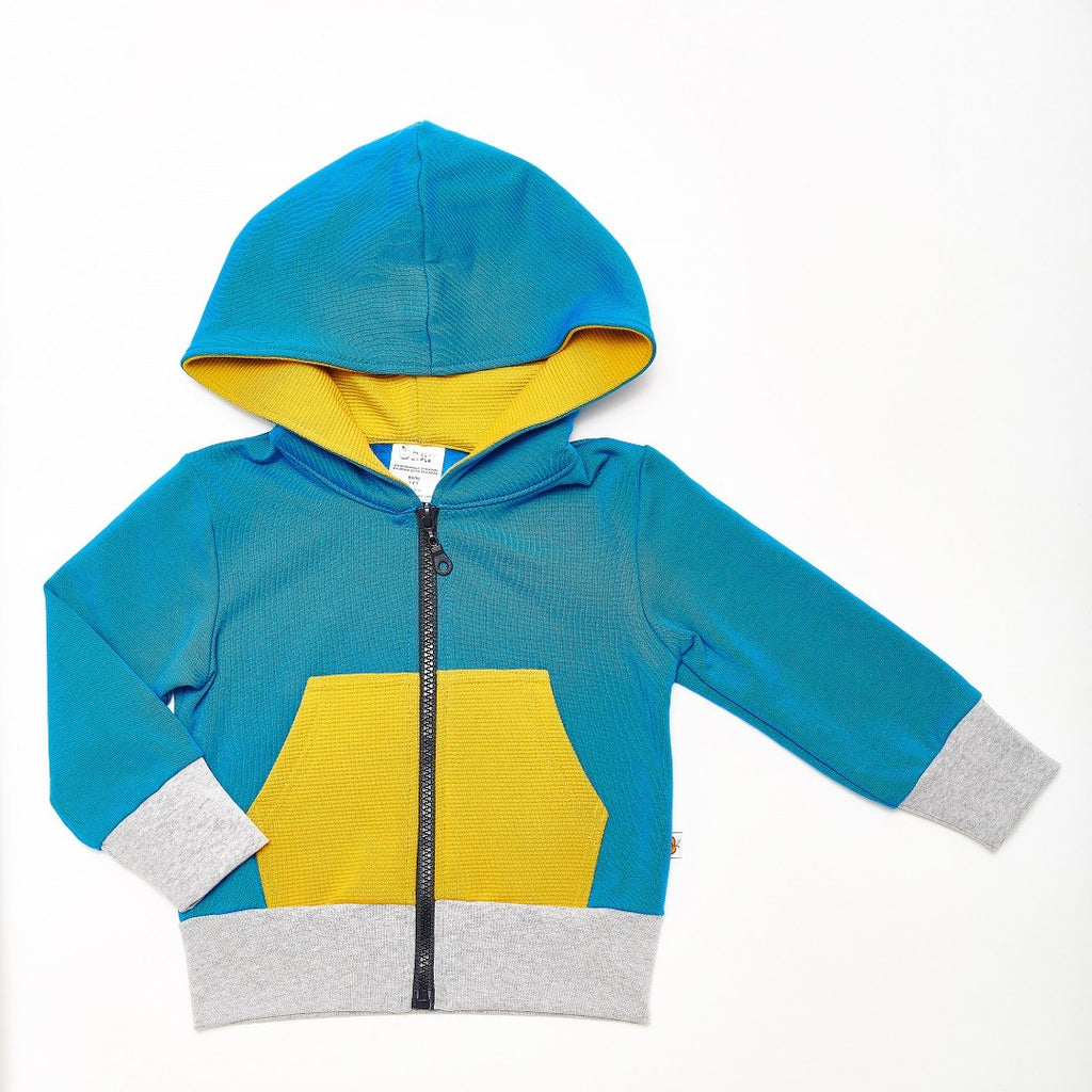 "Sweat-Kapuzenjacke ""Sweat Blau/Ripp Senf"""