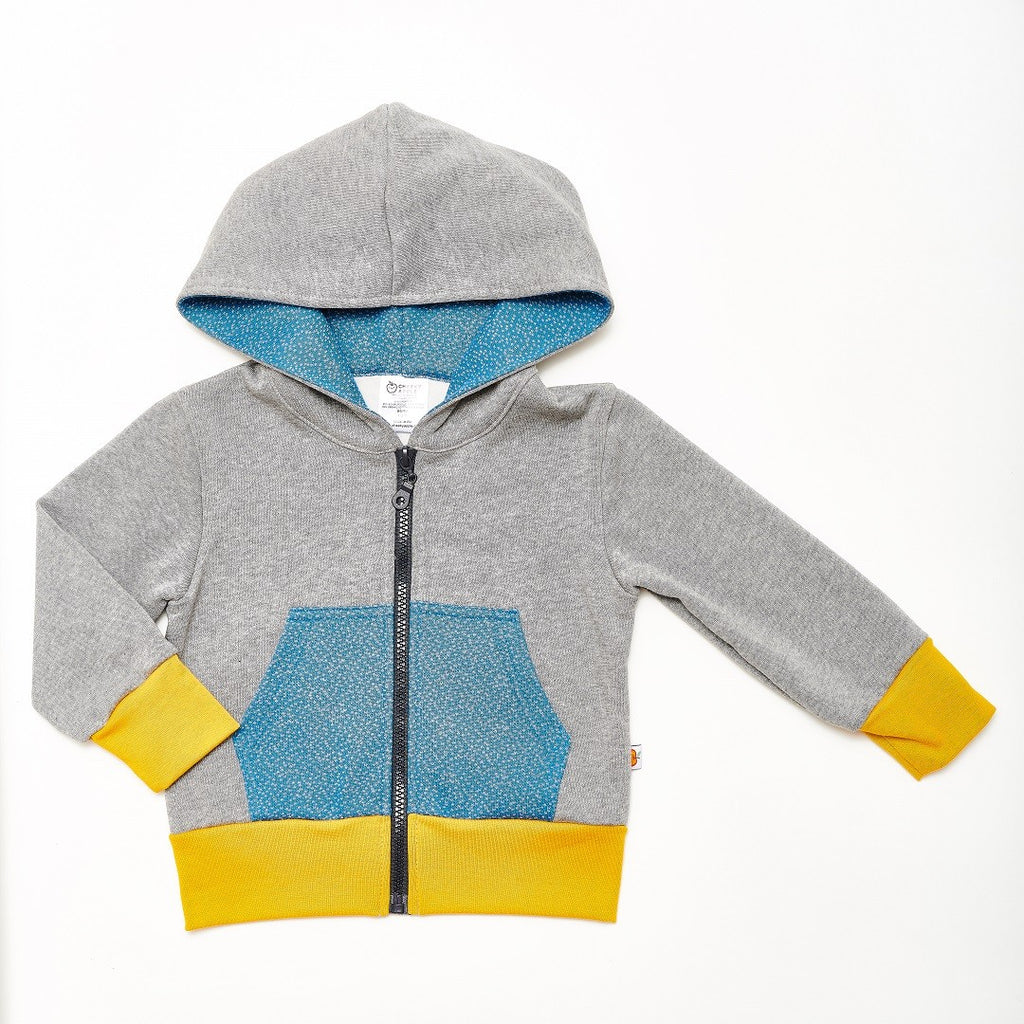"Sweat-Kapuzenjacke ""Sweat Grau/Dotties Blau"""