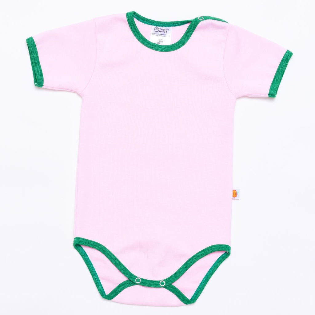 "Short-sleeve baby body ""Baby pink/Green"""