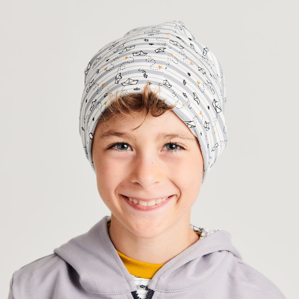"Beanie ""My little golden Ship"" made from 96% organic cotton and 4% elastane"