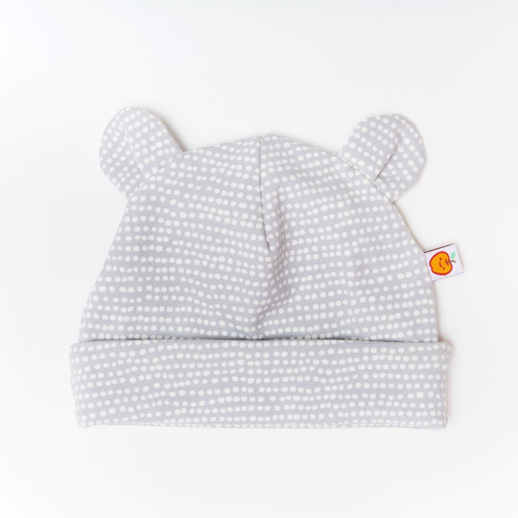 "Baby hat with ears ""Dotted Lines Grey"""