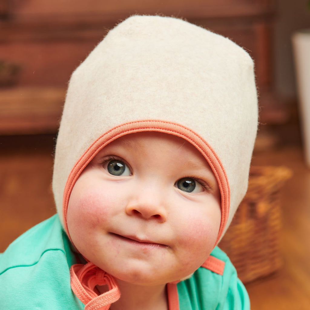 "Fleece baby hat with ear flaps ""Fleece Nude Marl/Apricot"""