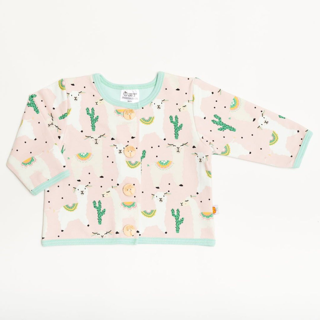 "Lined baby jacket ""Alpakas Pink/Spearmint"""