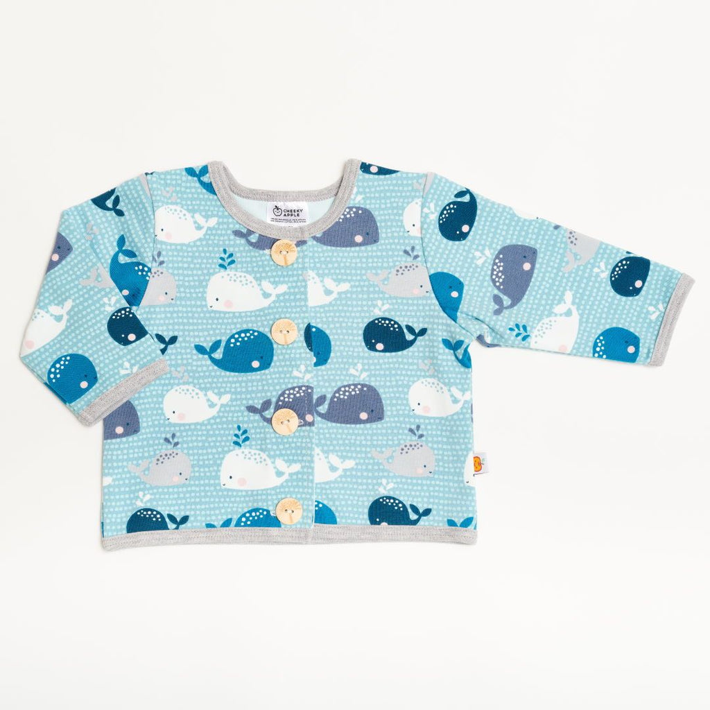 "Lined baby jacket ""Whales/Baby Blue"""