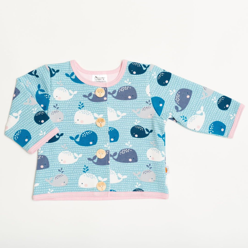 "Lined baby jacket ""Whales/Baby Pink"""