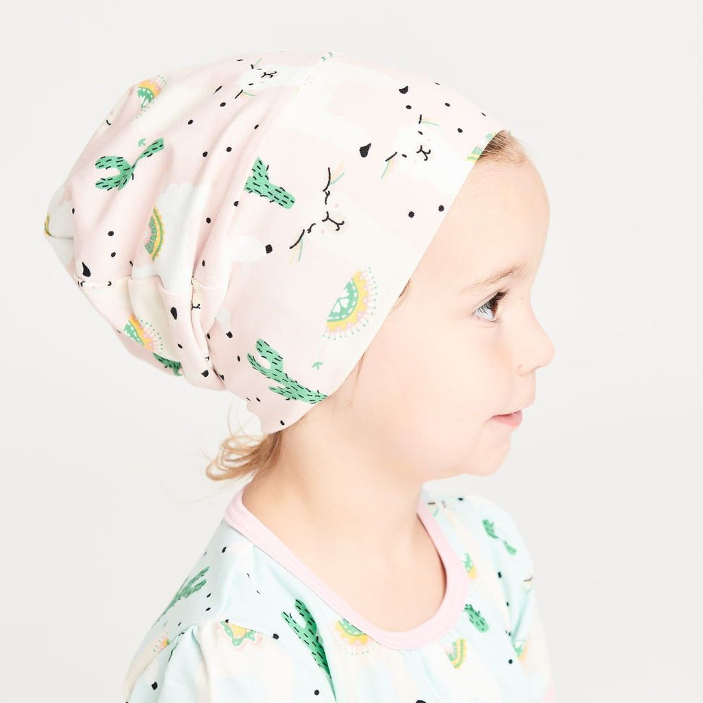 "Lined baby hat ""Alpakas Pink/Spearmint"""