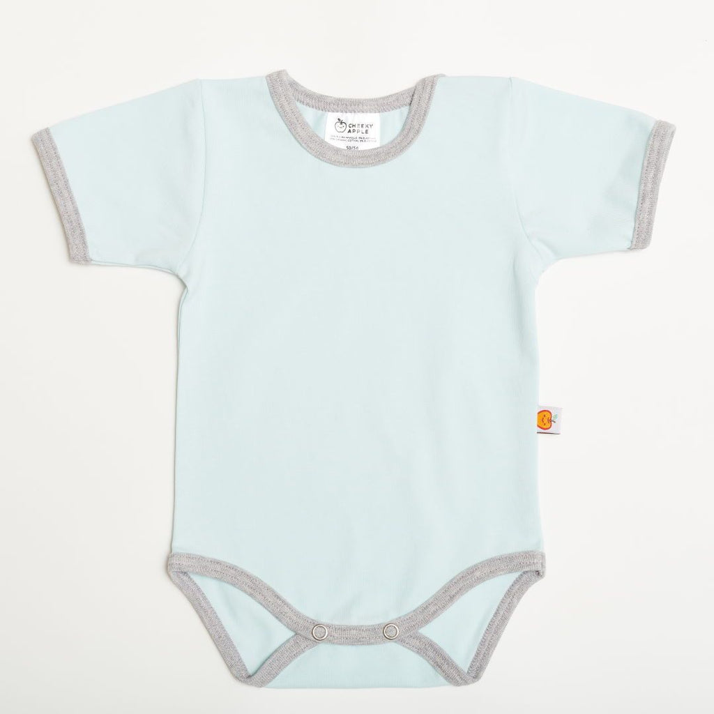 "Short-sleeve baby body ""Baby Blue/Grey"""