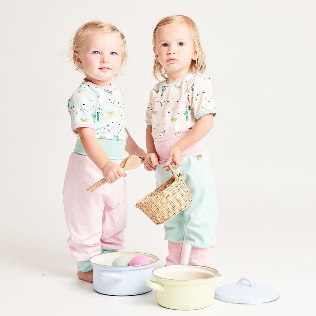"Baby pants ""Spearmint/Baby Pink"""