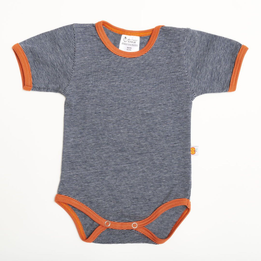"Short-sleeve baby body ""Navy-White Stripes/Copper"""