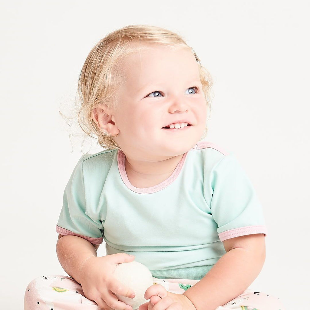 "Short-sleeve baby body ""Spearmint/Baby Pink"""