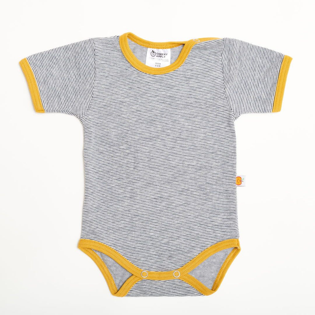 "Short-sleeve baby body ""White-Navy Stripes/Ochre"""